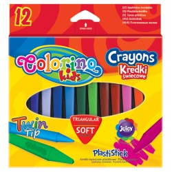 """Patio """"Colorino"""" kredki świecowe plastikowe trójkątne 12"""