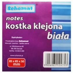 Schemat notes kostka klejona biała
