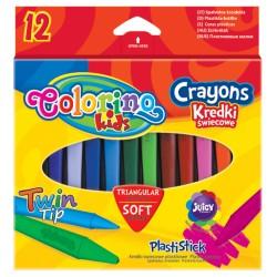 Colorino kredki świecowe plastikowe trójkątne 12