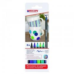 Markery do ceramiki w odcieniach niebieskich Edding 6