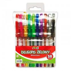 """Długopisy żelowe brokatowe 10 """"Kolori"""" TT-7649"""