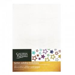 Karton brokatowy biały A-4/5 Galeria Papieru
