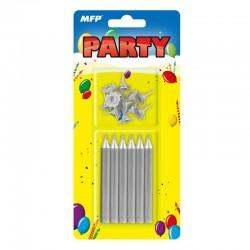 Świeczki urodzinowe srebrne MFP 8800078