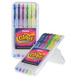 """Patio """"Glitter"""" długopisy żelowe brokatowe w twardym etui 6"""